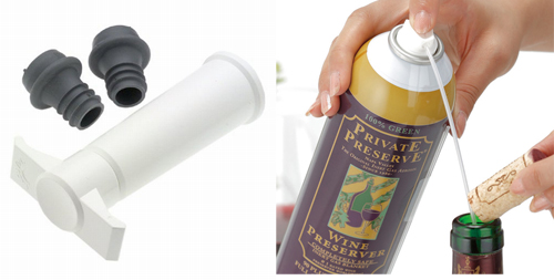 ポンプ式で空気を吸い出す。   窒素でワインと空気の間に膜を作る。
